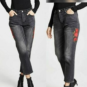 High-waisted embroidered Jean by KK